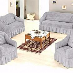 Set huse creponate si elastice canapea si fotolii 3+1+1 Gri