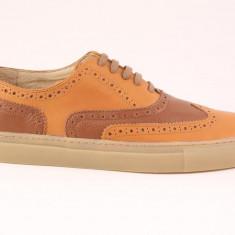 Candrani Oxford Sneakers Gordon Caramizu cu Flotter Maro - Pantofi barbat