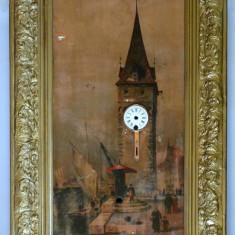 Tablou cu ceas in stil bidermeier - pentru reconditionare - Ceas de perete