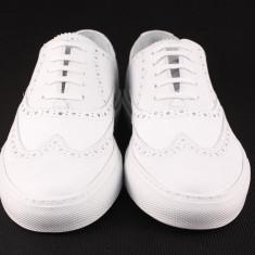 Candrani Oxford Sneakers White - Pantofi barbati Candrani, Piele naturala