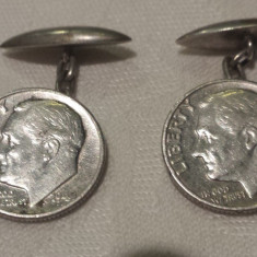 Butoni Camasa argint confectionati manual din monede 1951 de One Dime USA, Ornamentale