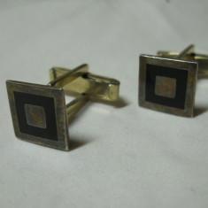 Butoni camasa argint placat cu aur si Email Mexic executati manual Eleganti