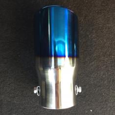 Ornament toba inox PREMIUM 7656CB albastru crom ars - Ornamente exterioare auto