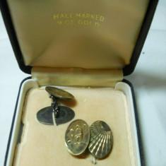 Butoni Camasa argint si aur de 9 carate H.G&S Vintage Eleganti de Efect Superbi