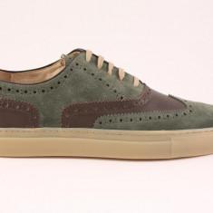 Candrani Oxford Sneakers Velour Verde cu Gordon TDM - Pantofi barbat