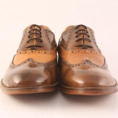 Candrani Oxford Vernice TDM cu Peru Coniac - Pantofi barbat Candrani, Piele naturala