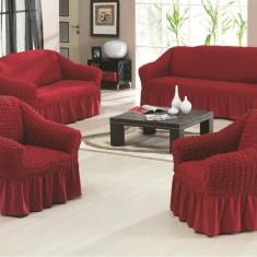 Set huse creponate si elastice canapele si fotoliu 3+2+1 Bordo - Husa pat