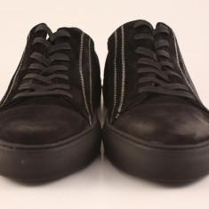 Candrani Zig-Zag Sneakers Negru - Pantofi barbat Candrani, Piele naturala