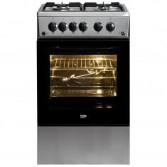 Aragaz Beko CSG52110DX, 4 arzatoare, rotisor, grill, aprindere electrica, inox, 50 cm