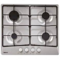 Plita incorporabila pe gaz Beko 4 arzatoare, 7400 W inox HIMG64223SX, Argintiu, Numar arzatoare: 4