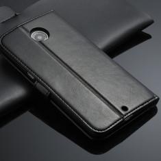 Husa /toc protectie piele fina MOTOROLA NEXUS 6, tip flip portofel, NEGRU - Husa Telefon