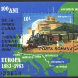 Romania 1983 - TRENUL ORIENT EXPRES, colita nestampilata Z1090 - Timbre Romania