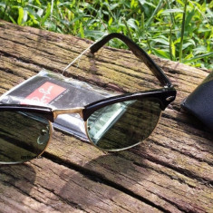 Ochelari RAY BAN de soare WAYFARER Clubmaster metalic + TOC RAYBAN - Ochelari de soare Ray Ban, Unisex, Verde, Plastic, Protectie UV 100%