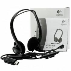 Casti Logitech PC Headset 960, USB, Peste cap, Negru - Casca PC
