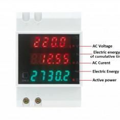 Contor electronic ampermetru voltmetru wattmetru, Contor de energie electrica