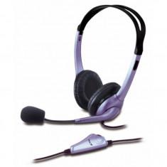 Casti audio Genius HS-04S, 3.5 mm Jack, Peste cap, Microfon, Negru/Mov - Casca PC
