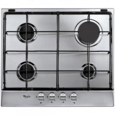 Plita incorporabila Whirlpool AKR360IX, Gaz, 4 arzatoare, Aprindere electrica, Inox, Argintiu, Numar arzatoare: 4