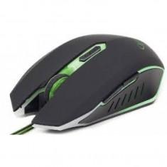 Mouse Gembird MUSG-001, Optic, 2400 DPI, Gaming, Iluminare LED, Negru/Verde, USB, Optica, Peste 2000