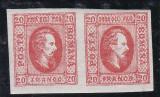 ROMANIA 1865  LP 17 A. I. CUZA  VAL. 20 PARALE  ROSU  PERECHE POINCON L. PASCANU, Nestampilat
