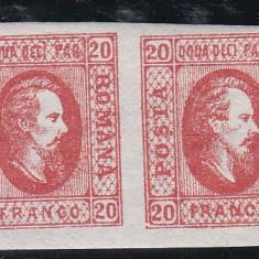 ROMANIA 1865 LP 17 A. I. CUZA VAL. 20 PARALE ROSU PERECHE POINCON L. PASCANU - Timbre Romania, Nestampilat