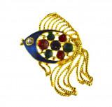 Brosa retro placata aur, decorata email cloisonne, design peste exotic, vintage