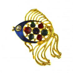 Brosa retro placata aur, decorata email cloisonne, design peste exotic, vintage - Brosa Fashion