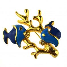 Brosa placata aur, decorata email, design marin, semnata casa bijuterii, vintage - Brosa Fashion