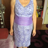 Rochie de gala din dantela si satin, culoarea lavandei - Rochie de seara, Marime: 44, Culoare: Lavanda