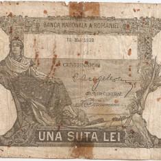 ROMANIA 100 LEI 1932 U - Bancnota romaneasca