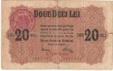 ROMANIA 20 LEI BGR 1917 STAMPILA U