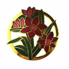 Brosa retro placata aur, decorata email cloisonne, design floral complex vintage - Brosa Fashion