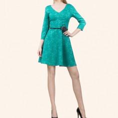 Rochie dama. Model Olivia New - Rochie de zi PerDonna, Marime: 42, 44, Turcoaz, Scurta, Satin