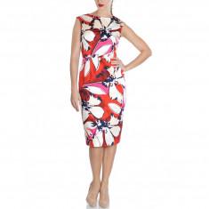 Rochie Dama. Model Cotton Multicolour Printed - Rochie de zi Raspberry, Marime: 40
