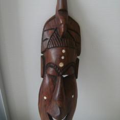 Masca africana din lemn masiv-abanos, cu insertii, de colectie/decor. - Arta din Africa