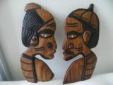 Familie africana din lemn masiv,lucrata manual,veche,de colectie/decor.