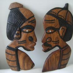 Familie africana din lemn masiv, lucrata manual, veche, de colectie/decor. - Arta din Africa