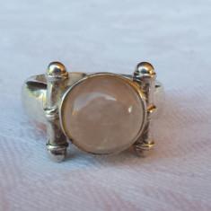 Inel argint cu CUART FUMURIU Splendid Finut Delicat executat manual vintage