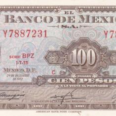MEXIC 100 pesos 29 decembrie 1972 AUNC+!!! - bancnota america