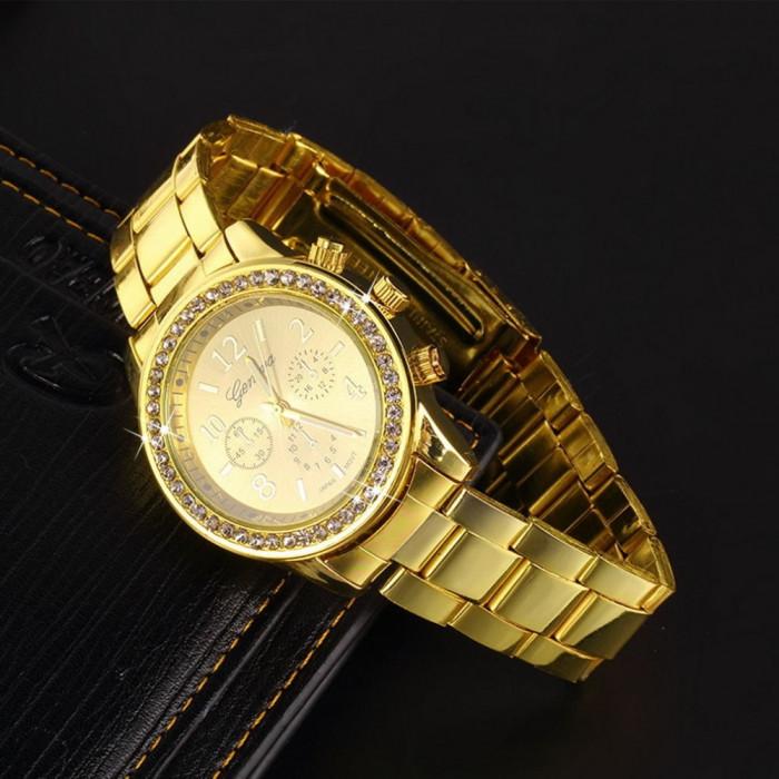 Ceas dama Geneva auriu bratara metalica cadran cu cristale superb cutie cadou foto mare
