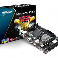 Placa de baza ASROCK Socket AM3+, 960GM-VGS3 FX, AMD 760G, 2*DDR3 1800/1600/1333/1066, VGA, 1*PCIEx2.0, 1*PCI, 4*SATA2 (RAID), 1*IDE, 4*USB2.0, bulk, Pentru AMD, MicroATX