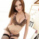 Lenjerie Lady Lust Sexy Animal Open Leopard Bikini Tanga + Sutien Set 2 Piese, Din imagine, Masura unica