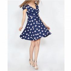 Rochie Dama. Model Daisy Printed - Rochie de zi Raspberry, Marime: 36, 38, 40, Bleumarin, Scurta, Vascoza