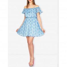 Rochie in Clos Blue Printed - Rochie de zi Raspberry, Marime: 34, 36, 40