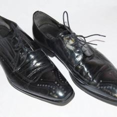 Pantofi barbatesti din piele, marimea 44 - Pantof barbat, Culoare: Negru, Piele naturala