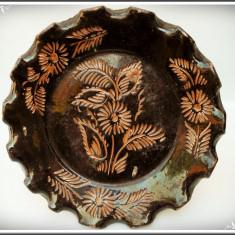 FARFURIE DE PERETE ȚĂRĂNEASCĂ DIN BANAT, VECHE, FĂCUTĂ DIN CERAMICĂ SMĂLȚUITĂ! - Arta Ceramica