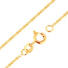 Lanţ realizat din aur galben 375 - zale ovale unite, 500 mm - Lantisor aur