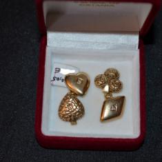 PERECHE BUTONI - AUR 14K + 2 Diamante - Unisex - Vintage - Gravati manual - 8g.!