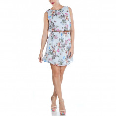 Rochie Dama. Model Grey Flower Print - Rochie de zi Raspberry, Marime: 32, 36, 40
