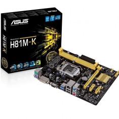 Placa de baza ASUS Socket LGA1150, H81M-K, Intel H81, 2* DDR3 1600/1333/1066 MHz, VGA/DVI, 1*PCIEx2.0/2*PCIEx1, 2*SATA3, 2*SATA2, Gi gabit LAN, bulk, Pentru INTEL, MicroATX