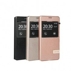 Husa Sunex Flip Cover S-View Samsung Galaxy On7 Rose Gold - Husa Telefon Oem, Piele Ecologica, Cu clapeta